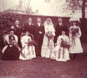 Blanche Moody and Gerald Powell's wedding. L-R Elizabeth Moody, ?, Ethel Moody, Frank Moody, Gerald Powell, Blanche Moody, Arthur Moody, Mabel Moody, Denise Powell