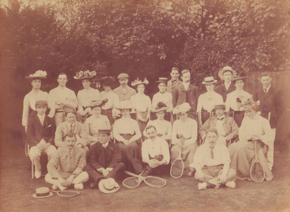 Fairfields Tennis Club. Back row 4th and 5th from right TOB and Mabel, 5th from left Frank Moody. Middle row 4th from right ELM