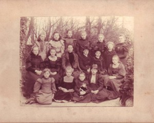 Miss Merry with girls at Westlands Day School. ELM standing far right. Winnie Adams, niece of Gerald Powell who became Lady Dalton after marriage is frnot row 2nd from left