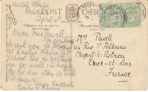 Reverse of Postcard sent to Blanche from Wilton House School