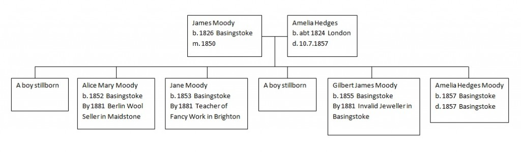 Family tree of James Moody and Amelia Hedges